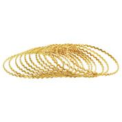 Gold Plated Zig Zag Design Thin Bollywood Indian Bangle 3mm Bracelets Set of 12