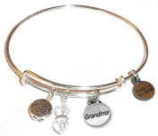 """Hidden Hollow Beads """"Grandma"""" Message Charm Expandable Wire Bangle Bracelet, COMES IN A GIFT BOX!"""