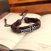 Fashionable Genuine Leather Cross Shape Men Bracelet Colour:Brown