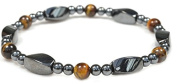 Magnetic Simulated tiger Eye and Hematite Therapy Bracelet – fashion jewellery women men - 18cm