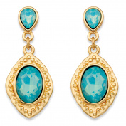 Oval Simulated Blue Aquamarine Gold Tone Vintage-Inspired Faceted Drop Earrings