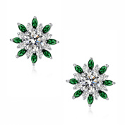 Round and Green Marquise Cubic Zirconia Radiance Stud Earrings for Women Girls White Gold Plated