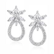 Marquise and Round Cubic Zirconia Earrings for Women Girls White Gold Plated