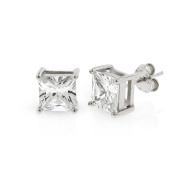 .925 Sterling Silver 7mm Princess Cut Square Cubic Zirconia Stud Earrings
