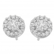 14kt White Gold 0.75ct TDW Round-cut Diamond Stud Earring