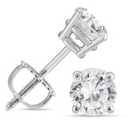 Marquee Jewels 14k White Gold1ct TDW IGI Certified Round Diamond Solitaire Stud Earrings