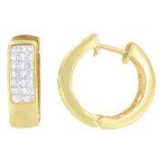 14kt Yellow Gold 1.07ct. TDW Princess and Round-cut Diamond Hoop Earrings