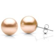 DaVonna 14k White Gold Pink Freshwater Pearl Stud Earrings