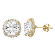 Gioelli Designs 10KT Gold 10.72 tcw 8mm Cushion Pave CZ Earrings