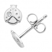 Little Diva Diamonds Sterling Silver .01 Ctw. Diamond Accent Lady Bug Stud Earrings for Girls