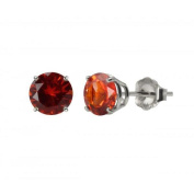MaxMark, Inc. 10k White Gold or Yellow Gold 8mm Round Created Padparadscha Stud Earrings