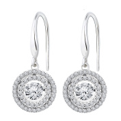 Titan Designs Sterling Silver Created White Sapphire Dancing Stone Earrings