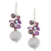 Lolas Jewellery Lola's Jewellery Sterling Silver White Freshwater Coin Pearl and Amethyst Earrings