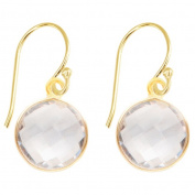 Sacred Jewels Alchemy Jewellery Gold Overlay Faceted White Quartz Gemstone Drop Earrings