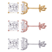 E & H Sterling Silver Square 5mm Superbright Screw-Back Cubic Zirconia Stud Earrings