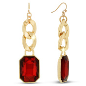 Adoriana Gold Over Brass Red Glass and Chain 6.4cm Dangle Earrings