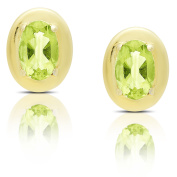 Dolce Giavonna Gold Over Silver Oval Gemstone Stud Earrings