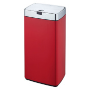 Dihl 45L Iris Chrome Lid Rectangle Auto Touchless Hands-Free Sensor Kitchen Waste Dust Bin Automatic Motor, Stainless-Steel, Red, 33.7 x 25 x 66.3 cm