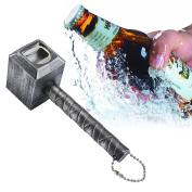 . Beer Bottle Opener,Hammer of Thor Shaped Bottle Opener Wine Corkscrew Beverage Wrench,Silver