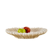 Pure.Lifestyle - 40cm Corrugated Oval Fruit Bowl - Beige Ceramic Decoration Fruit Plate Porcelain Fruit Tray Holder Crafts Wedding Gifts Welcome Home Warming Christmas Gift Birthday Presents