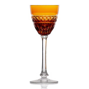 """Stemmed Shot Glass, Liqueur Glass, Aperitif Glass, Digestif Glass - Ideal for After Dinner Drinks, Collection """"ANNABELL"""", 155cm, amber, lead crystal, modern style"""