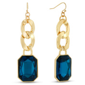 Adoriana Gold Over Brass Blue Glass and Chain 6.4cm Dangle Earrings