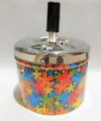 Metal Spinning Ashtray With Flower Design