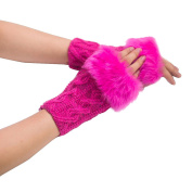 DAYLIN Women Girl Warm Winter Faux Rabbit Fur Wrist Fingerless Gloves Mittens