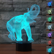 HeXie Christmas Gift Magic Elephant Lamp 3D Illusion 7 Colours Touch Switch USB Insert LED Light Birthday Present and Party Decoration