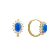 14K Yellow Gold Huggie Earring with Synthetic Blue Opal
