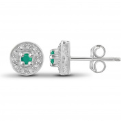 JewelersClub 1/7 Carat T.G.W. Emerald and White Diamond Accent Sterling Silver Halo Stud Earrings