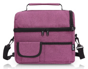 PuTwo Lunch Bag Large Capacity for Insulated Cooler Bag Lunchbox with YKK Zip Adjustable Shoulder Strap -Dark Purple