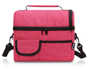 PuTwo Lunch Bag Large Capacity for Insulated Cooler Bag Lunchbox with YKK Zip Adjustable Shoulder Strap -Rosy