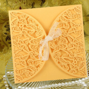 H & D Romantic Laser Cut beautiful Butterfly with Satin Ribbon Design for Bride and Groom Wedding Invitation Card Party Birthday Bussiness Souvenirs Wedding Favour Decor