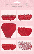 20 stickers in red hearts & Silver in Various Sizes & with Different cut-outs