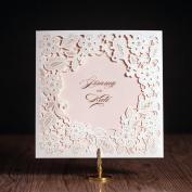 20 X Designer Luxurious White Floral Embossed Laser Cut Wedding Invitation Cards, FREE matching envelop / insert card / seal