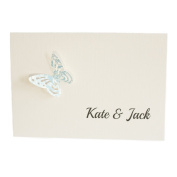 50 Personalised Ivory Linen with 3d Butterfly Lace cut Wedding Invitations with 50 Envelopes