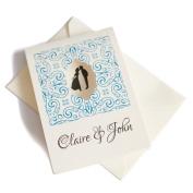 50 Personalised Ivory Linen Honeycomb Window Wedding Invitations with 50 Ivory Envelopes