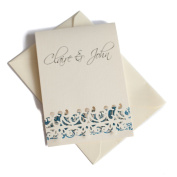 50 Personalised Ivory Linen Lace Cut Wedding Invitations with 50 Ivory Envelopes