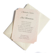 50 Personalised Ivory Linen Clasic Wedding Invitations with 50 Ivory Envelopes