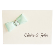 50 Personalised Ivory Linen with Mint Bow Wedding Invitations with 50 Envelopes