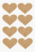 Cork Stickers Hearts, approx 42 mm