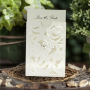 Mini Florentina Pealrescent Ivory Laser Cut Pocket Ideal for Wedding Invitation, Save the Date, Lottery Ticket Holder x 10