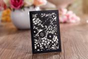 Mini Black Floral Laser Cut Pocket Ideal for Wedding Invitation, Save the Date, Lottery Ticket Holder Inc Envelopes x 10