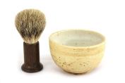 RAZZOOR shaving brush set Column Wenge - handmade ceramic bowl in natural colours beige and brown - shaving brush real badger hair silvertip - handle made of wenge wood
