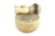RAZZOOR noble shaving brush set nature / brown marbled Silberspitz - handmade ceramic bowl in beige and brown - shaving brush real badger hair silvertip brown marbled handle
