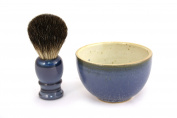 RAZZOOR Practical shaving brush set blue real badger - handmade ceramic bowl in blue and natural colours - shaving brush natural bristle badger for perfect shaving cream