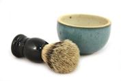 RAZZOOR shaving brush set black / green silvertip with ceramic bowl - handmade ceramic bowl in green and natural shades - shaving brush real badger hair silvertip