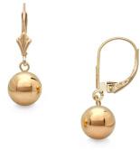 14k Gold 7mm Ball Dangle Leverback Earrings