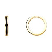 Womens 14K Solid Yellow Gold Thin Onyx Huggies Earrings
